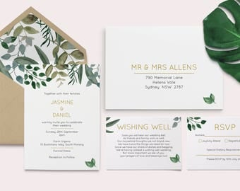 Foliage Wedding Invitation - Foliage - Leaves of Grass - Nature Wedding Invitation - Tree Wedding Invitation - Green Leaves - Leaf Wedding