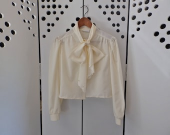 UpCycled Vintage Chiffon Neck-Tie Blouse - Size S