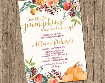 Twins Fall Baby Shower Invitation, Twin pumpkin baby shower invite, twins gender neutral baby shower, two little pumpkins, printable
