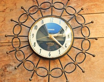 Vintage mid century French wall clock Bayard (electric)/ 1960's Black and gold Iron clock Bayard France