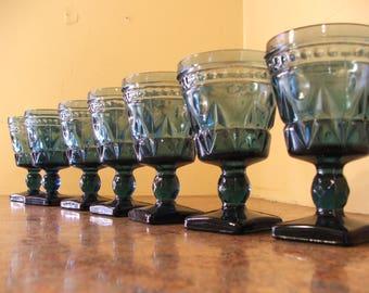 Vintage Set of Seven (7) Vintage 1960s Indiana Glass / Tiffin Teal Blue Colony Park Lane Wine Goblets