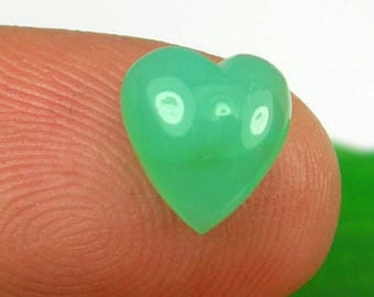 259 carat light apple green color heart cabochon cut approx 9x9 mm natural untreated australian chrysoprase gemstone translucent clarity - Apple Green Color