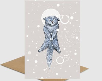Cut funny blue cat floating with bubbles in space girlfriend boyfriend friend greeting card animal nature cat lover card by ruta13