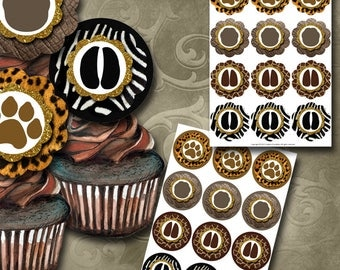 Animal Print Cupcake Toppers Instant Download Printable Cupcake Toppers