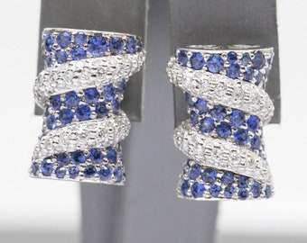 3.00ctw Natural Blue Sapphire and Diamond 18k White Gold Earrings, Sapphire Diamond 18k White Gold Earrings, Sapphire Diamond 18k Earrings