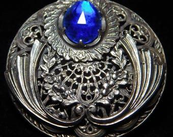 "Large ANTIQUE Ornate Jeweled BUTTON Cobalt Blue GEM in Silvered Brass  1.70"""