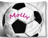 Personalized Blanket-Soccer Fleece Blanket-Soccer Ball Blanket-Stadium Blanket-Bed Blanket-Sports Blanket-Throw Blanket-Boys/Girls Blanket
