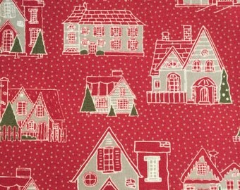 Petites Maisons De Noel in Rouge from French General for Moda Fabrics
