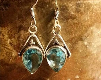 SUMMER CLEARANCE SALE Blue Quartz  Earrings Gemstone  .925 Sterling  Silver