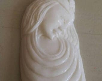Holiday SALE 85 % OFF Lady Princess Girl Carved .925 Sterling Silver  Natural Pendant