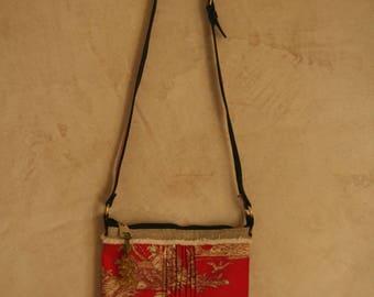 French toile de jouy and linen - 2 corners black leatherette - bag - shoulder bag-