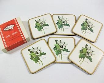 Vintage Trillium Ontario Coasters, Pimpernel Acrylic & Cork Drink Coasters, Canada Coasters, Floral Coasters, Set of 6 Hardboard Coasters