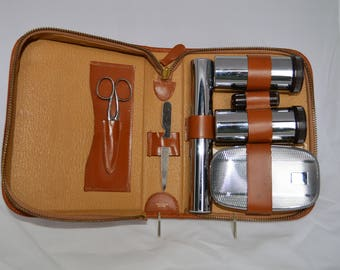 Leather Mens Shaving Travel Toiletry Kit Vintage England