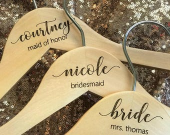 SALE! Bridesmaid Wedding Hangers - Wooden ENGRAVED Hanger - NOT stickers or sharpies! - Dress Hanger Calligraphy names dates and titles