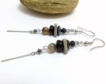 Earrings grey, black, multi-material (BO 05)