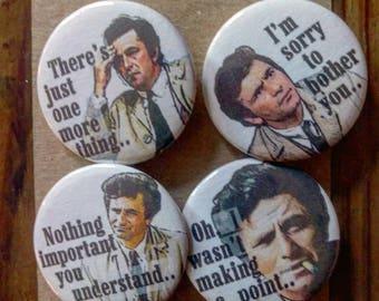 Columbo - TV Detective - Peter Falk - 4 - button pin badge set
