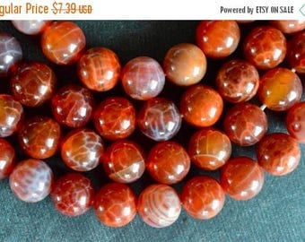 25% off SALE 12mm Natural Fire Agate Stone Beads Gemstone  6 Beads,  Round Smooth Red Orange Fire Agate Stone Beads, Natural Stone Beads