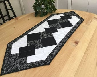 Quilted Black and White Table Runner Handmade Classic Patchwork Table Runner Free US Shipping