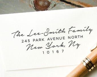 Custom Calligraphy Script Stamp, Self Inking Return Address Stamp, Personalized Address Stamp, Housewarming Gift, Wedding Invitation