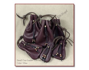 Small Drawstring Pouches, Color: Wine - Hand Stitched Soft Strong Leather, 4 Sizes Left, Limited Quantity, - Gift Packages, Collection, Dice