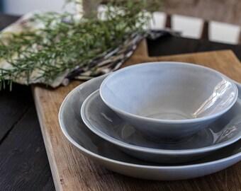 Ceramic Dinnerware Plates Set, Gray Ceramic Bowls Set, Modern Dinner Plates,  Urban Kitchen