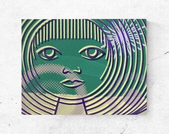 Boho art portrait, green home decor, abstract portrait digital print on canvas, gallery art, female face modern women