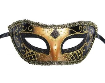 Black Venetian Mask Masquerade Ball Prom Party Mardi Gras Halloween Costumes Wedding Decoration 4F2A, SKU 7K12