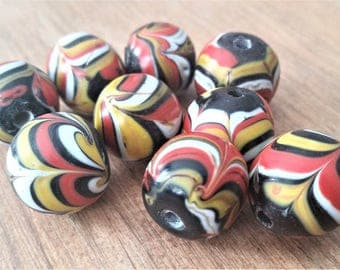 15mm Black Red White and Yellow Javanese Glass Beads