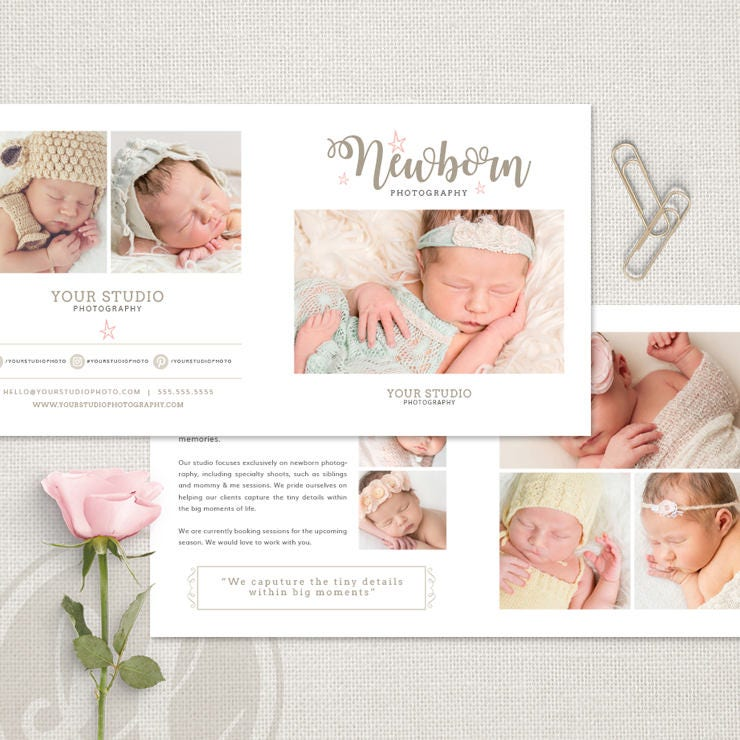 Newborn photography brochure newborn photography trifold brochure newborn trifold brochure flyer newborn accordion