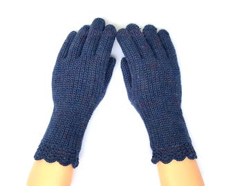 Blue Gloves with Fingers Women's Gloves with Fingers Blue Gloves Crocheted Finger Gloves Fingerless Gloves Knitted Gloves Wrist Warmers Gift