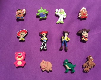 12-pc Toy Story Shoe Charms for Crocs, Silicone Bracelet Charms, Party Favors, Jibbitz