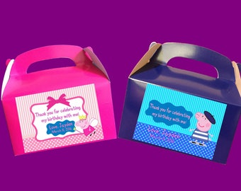 Personalized Peppa Pig Treat Boxes, Goody Bags, Party Favors
