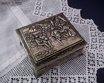 Vintage metal jewelry box, ornate medium trinket box,people dancing and windmills, ring box,romantic, lined, roses and sunflower,Dutch scene