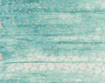 Fabric by the yard - Fat Quarter Bundle - Fabric Bundle - Quilt Fabric - Teal Geometric Fabric  - Shimmer On -AJSP-17025-59 Ocean