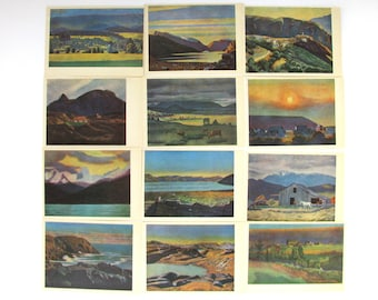 Rockwell Kent, Set of 14 Postcards, Painting, Illustration, Set, Art, Soviet Union Vintage Postcard, made in USSR, 1965, 1960s, 60s