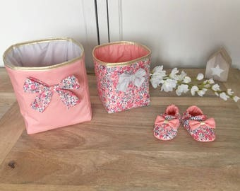 Duo of basket Liberty Wiltshire fabric quilted and lined in fabric, beige and coral pink sweet pea