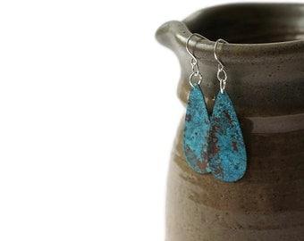 Copper Earrings - Teardrop Earrings - Blue patina - boho earrings - lightweight earrings - dangle earrings - drop earrings - copper jewelry