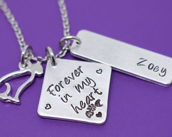 Pet Memorial Jewelry - Personalized Cat Memorial Necklace - Pet Loss Gift - Personalized Pet Remembrance Jewelry - Forever in My Hea