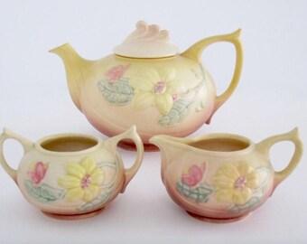 Vintage Unique Hull USA Magnolia Art Pottery Tea Set