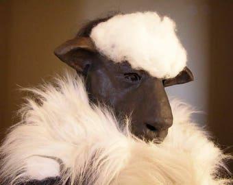 Masquerade mask Paper mache mask Sheep mask Animal mask Sheep head Halloween mask Fancy dress Face mask
