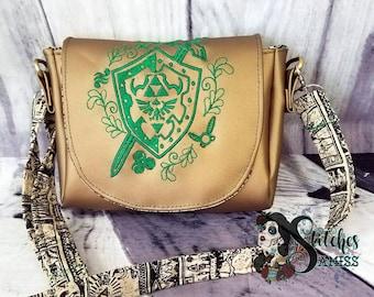 Legend of Zelda inspired mini crossbody bag, loz bag, Zelda bag, Zelda purse, Legend of Zelda purse