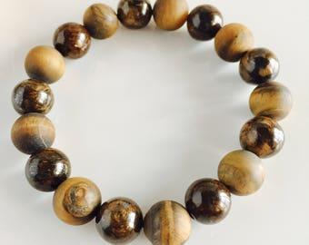 Genuine Polished and Matte Tiger's Eye Men's Stretch Bracelet