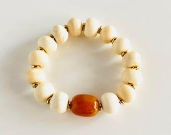 Africa Inspired White Bone and Orange Copal Stretch Bracelet