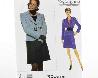 Designer Vogue Jacket and Skirt Sewing Pattern, Uncut Sewing Pattern, Vogue V1630, Size 6-10