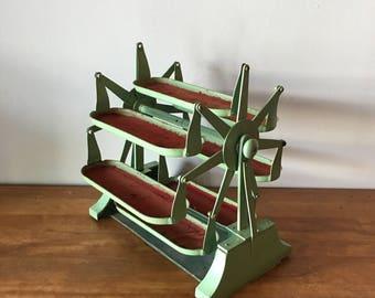 Vintage industrial mint green parts bin carousel original