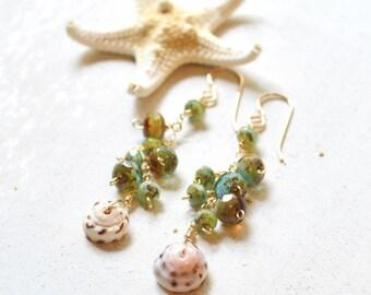 Puka Shell Earrings Gold, Beaded Dangling Earrings, Dangling Puka Shell Earrings, Gold Chain Earrings
