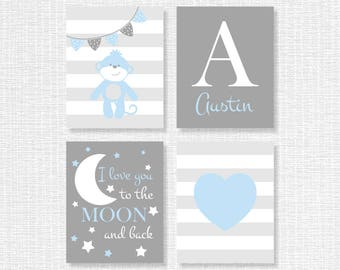 Blue and Gray Monkey Baby Room Wall Decor Set of 4, 8x10, I love you to the moon and back, Name art, Nursery Printable, INSTANT DOWNLOAD