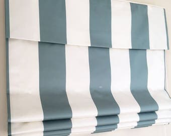 "Flat Roman Shade ""Satin Awning Stripe"" in Teal tints, satin roman shade with chain mechanism, roman shades custom"