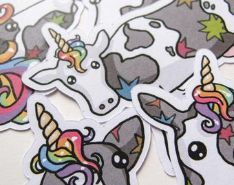 Rainbow Cow Stickers, Unicorn Stickers, Journaling, Sticker Flakes, Cute cows, Stationery, Scrapbooking, Paper Stickers