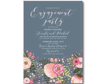 Floral Engagement Party Invitation, Printable Engagement Party Invitation, Engagement Party, Party Invitation, Printable Invitation #CL126